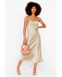 Nasty Gal Satin Square Neck Midi Slip Dress - Natural