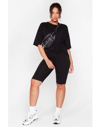 Nasty Gal Win 'em Oversized Plus Tee And Biker Shorts Set - Black