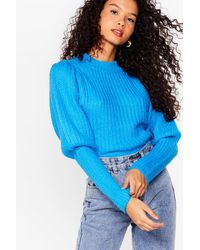 Nasty Gal - Puff Sleeve Knitted Ribbed Jumper - Lyst