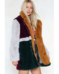Nasty Gal - You've Met Your Patch Faux Fur Coat - Lyst