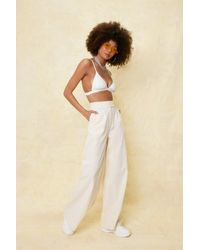 Nasty Gal Linen Look High Waisted Wide Leg Trousers - Yellow