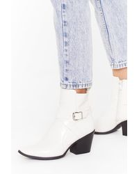 """Nasty Gal """"don't Buckle Under Pressure Faux Leather Boots"""" - White"""