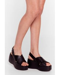 Nasty Gal Sling It Back Crossover Wedge Sandals - Black