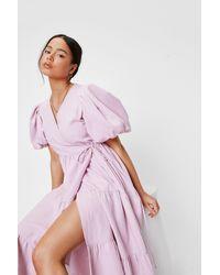 Nasty Gal Petite Puff Sleeve Tiered Maxi Dress - Purple