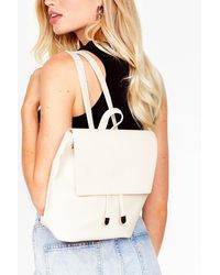 Nasty Gal Want Take A Roadtrip Faux Leather Backpack - Natural