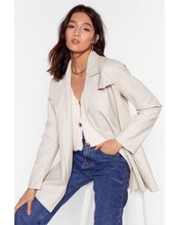 Nasty Gal Best Time Faux Leather Longline Jacket - White