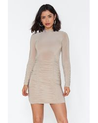 Nasty Gal Slinky Ruched Bottom Mini Dress - Natural