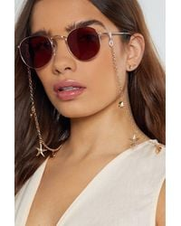 """Nasty Gal """"this Too Shell Pass Curb Glasses Chain"""" - Metallic"""