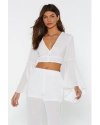 """Nasty Gal """"button Front Flare Sleeve Top"""" - White"""