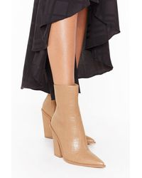 Nasty Gal Croc Embossed Pointed Heeled Boots - Natural