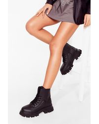 Nasty Gal - Cleated Round Toe Biker Boots - Lyst