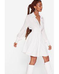 Nasty Gal Button Down Mini Shirt Dress - White
