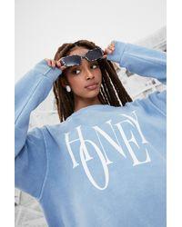 Nasty Gal Oh Honey Oversized Graphic Sweatshirt - Blue