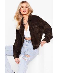 Nasty Gal - Break The Record-uroy Oversized Jacket - Lyst