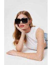 Nasty Gal Oversized Square Frame Tinted Sunglasses - Black