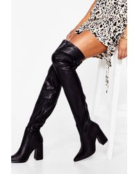 Nasty Gal Livin' It Up Faux Leather Over-the-knee Boots - Black