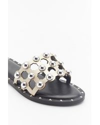 """Nasty Gal """"on The Other Slide Studded Cage Sliders"""" - Metallic"""