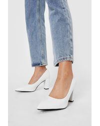 Nasty Gal Pointed Faux Leather Block Heeled Court Shoes - White