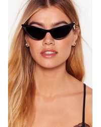 "Nasty Gal ""cat-eye Frame Slim Sunglasses With Tinted Lenses"" - Black"
