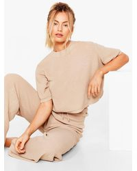 Nasty Gal Let's Stay Home Knitted Pants Lounge Set - Natural