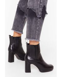 """Nasty Gal """"heel The Love Faux Leather Boots"""" - Black"""