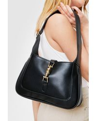Nasty Gal Faux Leather Clasp Closure Shoulder Bag - Black