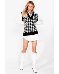 Nasty Gal Nowhere To Be Houndstooth Knitted Tank Top - Black