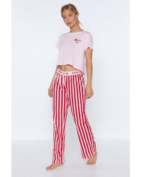 Nasty Gal - Babes Club Crop Top And Trousers Pyjama Set - Lyst