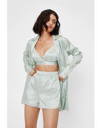 Nasty Gal Let Me Sleep Satin 3-pc Pajama Set - Green