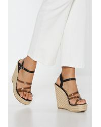 """Nasty Gal """"up And Running Clear Raffia Wedges"""" - Black"""