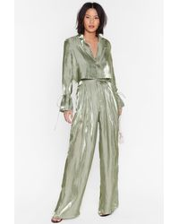 Nasty Gal Satin Shimmer High Waisted Wide Leg Trousers - Green