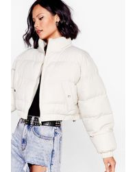 Nasty Gal Crop 'n' Roll Padded Bomber Jacket - Multicolour