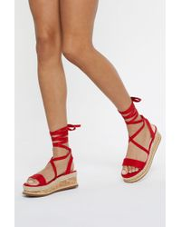 """Nasty Gal """"step Outside Tube Wrap Sandals"""" - Red"""