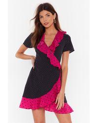 Nasty Gal Got It Spot On Polka Dot Mini Dress - Black