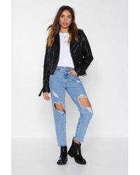 Nasty Gal - A Hole New Ball Game Distressed Jeans - Lyst