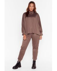 """Nasty Gal """"high Neck There Plus Sweatpants Lounge Set"""" - Brown"""