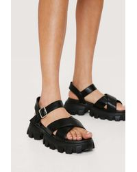 Nasty Gal Faux Leather Cross Strap Chunky Sandals - Black