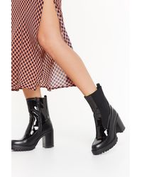 """Nasty Gal """"how High Patent Heeled Boots"""" - Black"""