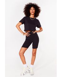 Nasty Gal In This Together Tee And Biker Shorts Set - Black