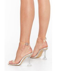 """Nasty Gal """"it's All So Clear Now Clear Stiletto Heels """" - Metallic"""