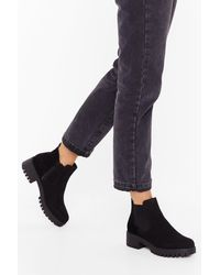 """Nasty Gal """"kicking And Screaming Faux Suede Chelsea Boots"""" - Black"""