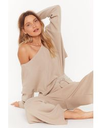 """Nasty Gal """"slow Down Sweater And Jogger Lounge Set"""" - Natural"""