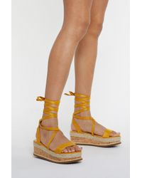 Nasty Gal Draw To A Close Wrap Cork Sandals - Yellow