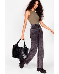 Nasty Gal Want Croc Your Baby Faux Leather Tote Bag - Black