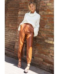 """Nasty Gal """"seams Like Heaven Faux Leather Joggers"""" - Brown"""