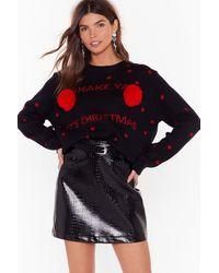 Nasty Gal Shake Ya Pom Poms Christmas Sweater - Black