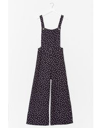 Nasty Gal Polka Dot Dungaree Jumpsuit - Black