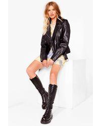 Nasty Gal Knee High Lace Up Biker Boots - Black