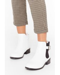 """Nasty Gal """"just My Buck-le Faux Leather Ankle Boots"""" - White"""