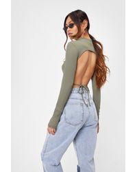 Nasty Gal Petite Long Sleeve Backless Crop Top - Green